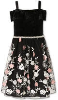 Speechless Velvet Embroidered Dress, Big Girls (7-16)