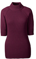 Lands' End Women's Petite Elbow Sleeve Rib Mock Sweater-Dark Ginger Spice