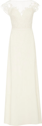 Carolina Herrera Bridal Hannah Illusion Lace Open-Back Silk-Georgette Gown