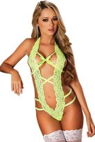 Elady Cut-Out Babydoll Bowknot Lace Lingerie Nightwear For Sexy Women, Neon , (One Size)