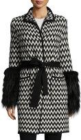 Carolina Herrera Chevron Tweed Coat w/Fox Fur, Black/White