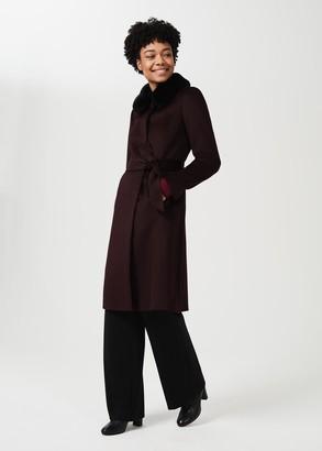 Hobbs Edeline Wool Coat With Faux Fur Collar