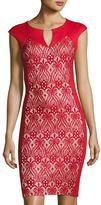 Jax Lace-Inset Cap-Sleeve Sheath Dress, Red