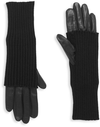 Carolina Amato Touch Tech Leather & Knit Gloves
