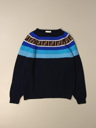 Fendi Crewneck Pullover In Ribbed Cotton