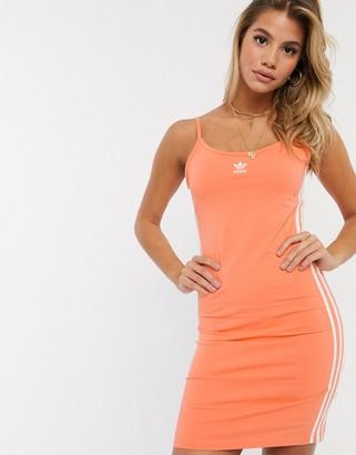 adidas three stripe strap dress in orange