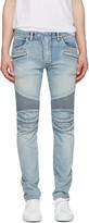 Balmain Blue Distressed Biker Rib Jeans