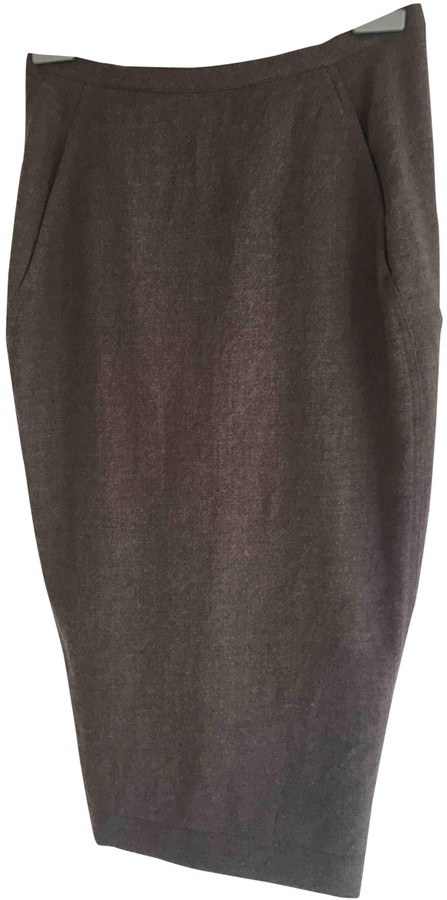 Rick Owens Khaki Wool Skirt for Women
