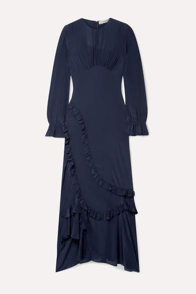 Preen Line Gabriella Asymmetric Ruffled Crepe De Chine Maxi Dress - Midnight blue