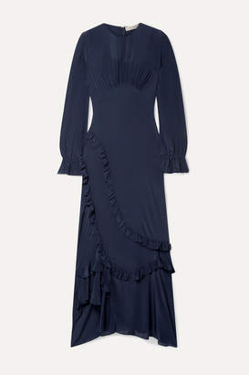 Preen Line Gabriella Asymmetric Ruffled Crepe De Chine Maxi Dress - Midnight blue