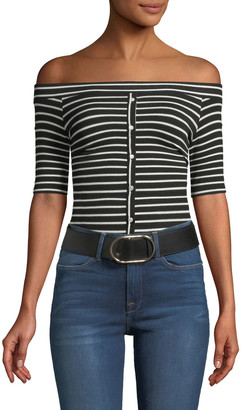 Frame Off-the-Shoulder Button-Front Striped Tee