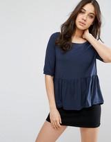 Vila T-Shirt With Peplum Hem