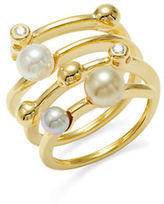 Majorica 4MM White and Champagne Pearl and Cubic Zirconia Ring