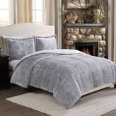 Frosted Fur Reversible Full/Queen Comforter Set in Brown