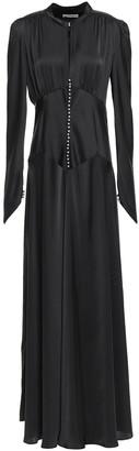 Paco Rabanne Flared Button-detailed Satin Maxi Dress