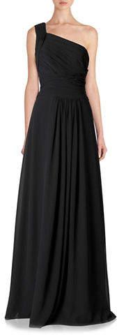 Monique Lhuillier Bridesmaids Long One Shoulder Chiffon Gown