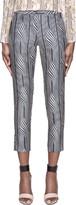 Suno Navy Warped Stripe Classic Trousers