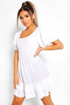 boohoo Petite Smocked Angel Sleeve Skater Dress