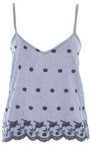 Gingham embroidered night camisole top