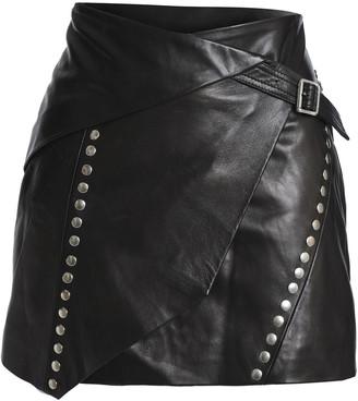IRO Mupper Wrap-effect Studded Leather Mini Skirt