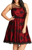 City Chic Plus Size Women's Embroidered Ruby Belted Fit & Flare Dress