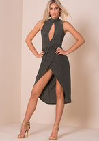 Missy Empire Tessy Khaki Cut Out Front Wrap Midi Dress