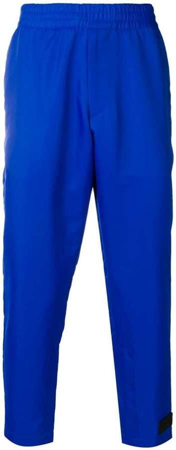 Prada logo patch cropped trousers