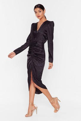 Nasty Gal Womens Slit of the Lip Satin Midi Dress - black - S