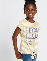 Marks and Spencer Pure Cotton Striped Front Tie Top (3-14 Years)