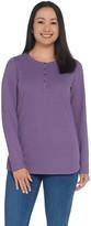 Denim & Co. Essentials Long Sleeve Button Henley Waffle Knit Top