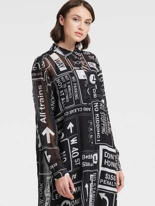 DKNY Mta Button-up Dress With Roll-tab Sleeve