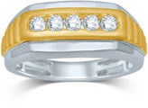 JCPenney FINE JEWELRY Mens 1/2 CT. T.W. Diamond 10K Two-Tone Gold Ring