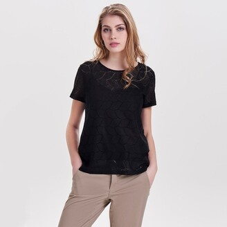 Jacqueline De Yong Embroidered Short-Sleeved T-Shirt