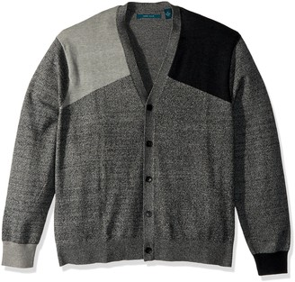 Perry Ellis Men's Big Colorblock V-Neck Cardigan