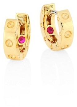 Roberto Coin Pois Moi 18K Yellow Gold Huggie Hoop Earrings/0.28""