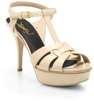Saint Laurent Tribute 75 Patent Leather Platform Sandals