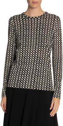 Proenza Schouler Dotted-Print Tissue Jersey Long-Sleeve Tee