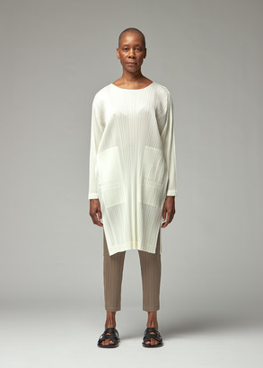 Pleats Please Issey Miyake Women's Long Sleeve Tunic Top in Off White Size 3