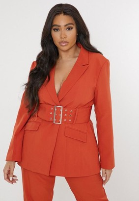 Missguided Plus Size Orange Co Ord Tailored Belted Blazer