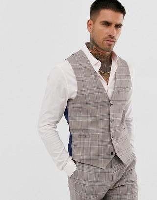 Harry Brown wedding slim fit stone blue check suit vest