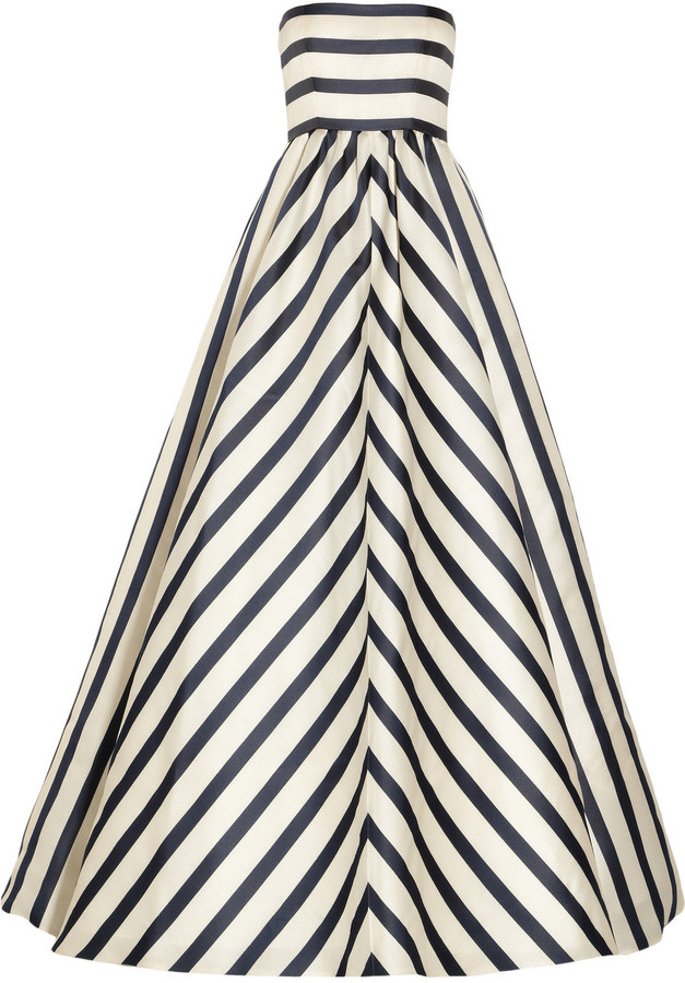 Oscar de la Renta Striped silk-blend gazar gown
