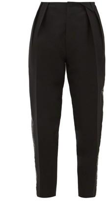Bottega Veneta Satin-trim Structured Wool-blend Twill Trousers - Black