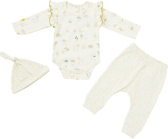 Pehr Magical Forest Organic Cotton Bodysuit, Pants & Knotted Hat Set