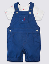 Marks and Spencer Pure Cotton Bodysuit & Dungarees Outfit
