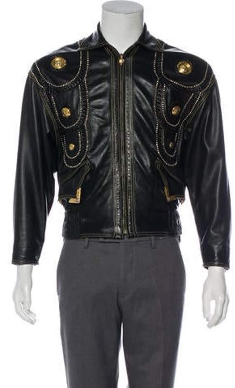 157d1203 1993 Medusa Embellished Leather Jacket black 1993 Medusa Embellished  Leather Jacket