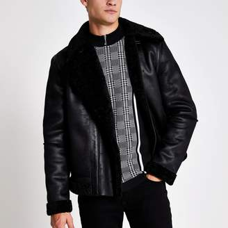 River Island Mens Black faux suede shearling aviator jacket