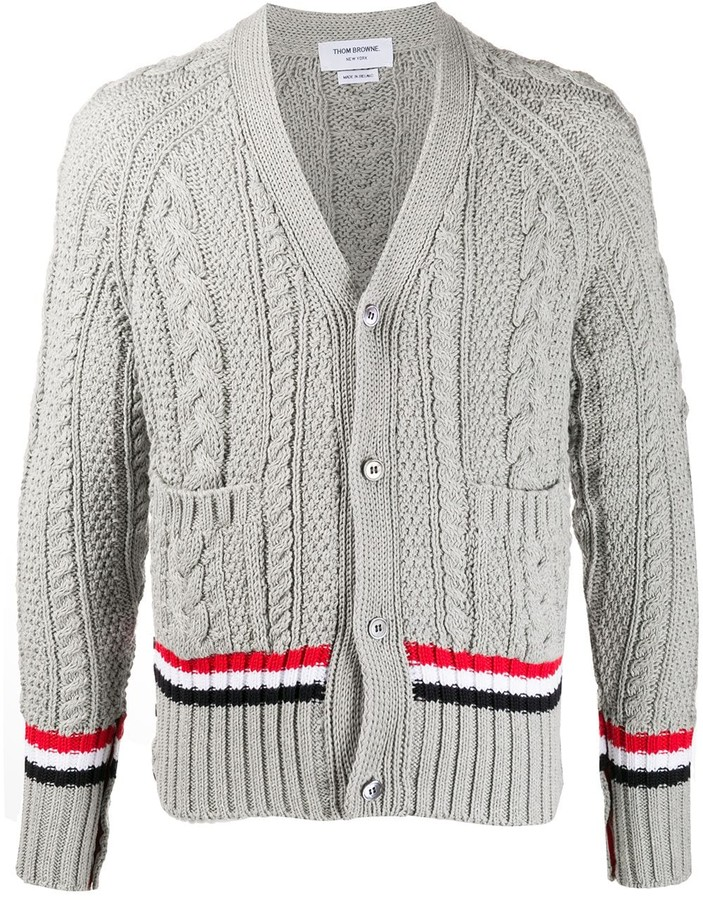 Thom Browne Striped Knitted Cardigan ShopStyle