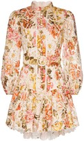 Zimmermann belted floral-print lace dress