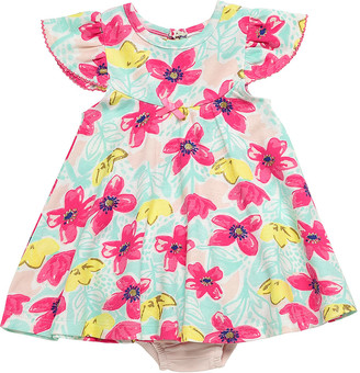 Baby Starters Girls' Casual Dresses Pink - Teal & Hot Pink Angel-Sleeve Dress & Diaper Cover - Newborn & Infant