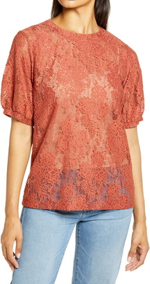 Halogen Grosgrain Tie Back Lace Top